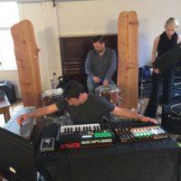 setting up at Sawdust Collector (loscil, Kenton & Marina)